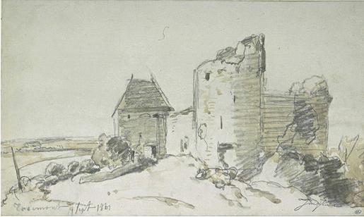View of the Ruined Castle in Rosemont, 1861 - Johan Jongkind