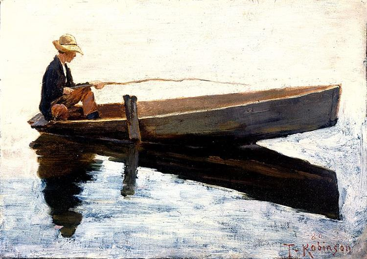 Boy in a Boat Fishing, 1880 - Theodore Robinson