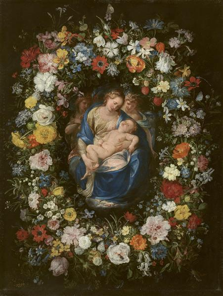 Wreath with Virgin and Child and Two Angels - Jan Brueghel the Elder