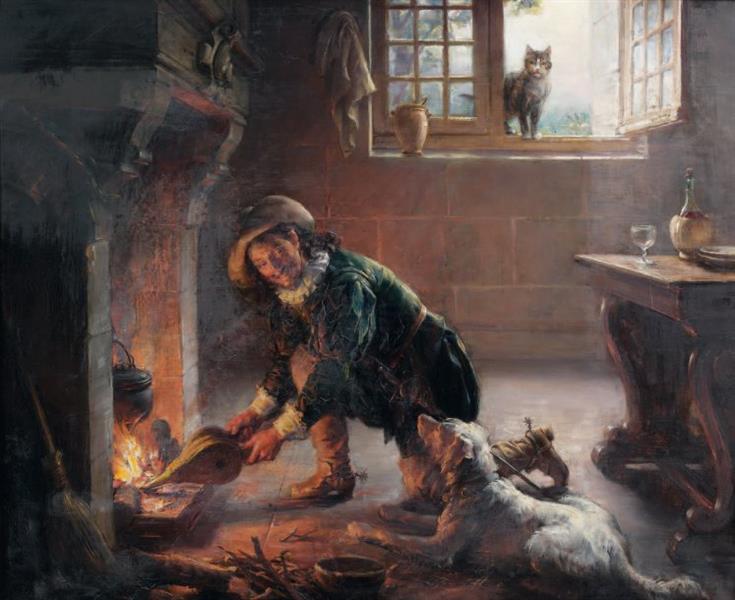 Man relighting a fire - Joseph-Noël Sylvestre
