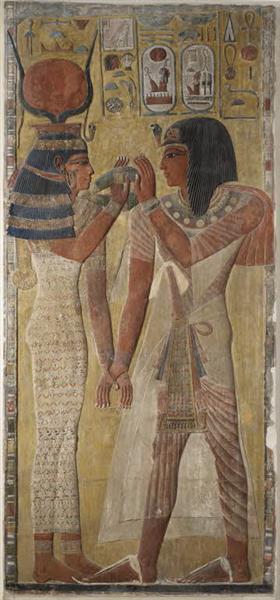 The goddess Hathor welcomes Sethos I, c.1550 - c.1069 BC - Ancient Egypt