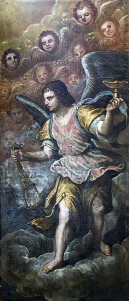 Madonna dell'Orto (Venice) - Chapel Morosini - Angels carrying the censer (right), c.1627 - Domenico Tintoretto