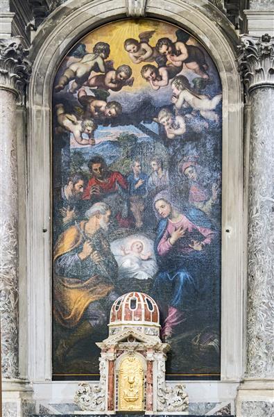 Madonna dell'Orto (Venice) - Chapel Morosini - Nativity and Saint Dominic, 1625 - Domenico Tintoretto