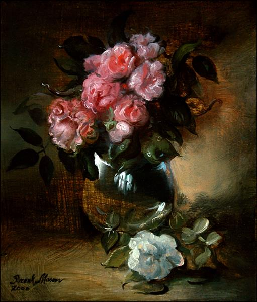 Pink Roses in Brandy Glass, 2000 - Frank Mason