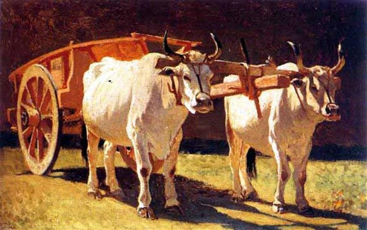 Oxen and Cart, 1867 - Giuseppe Abbati