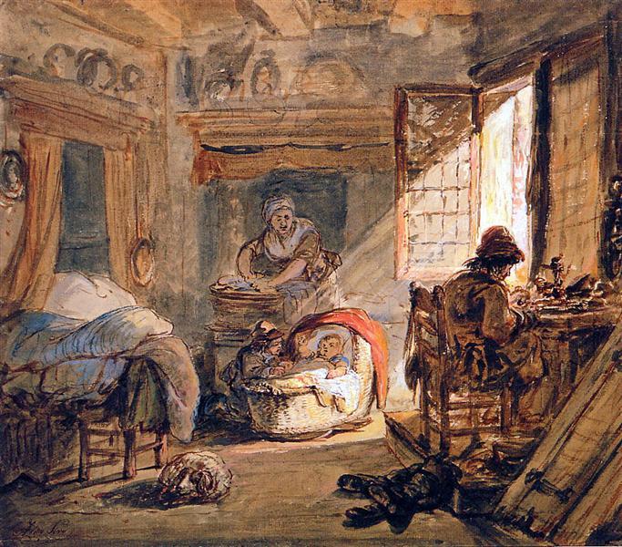 Cobbler and his family - Abraham van Strij