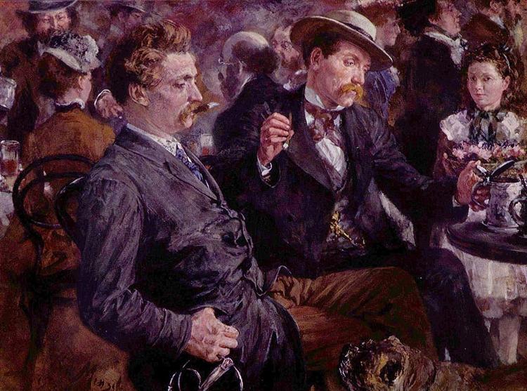 At the beer garden, 1883 - Adolph Menzel