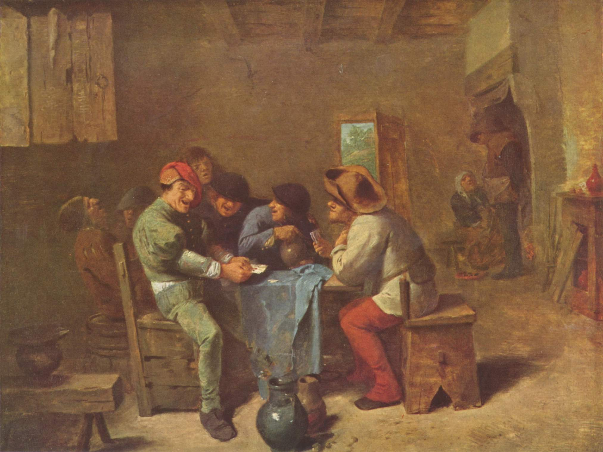 Peasants playing cards in a tavern, 1635