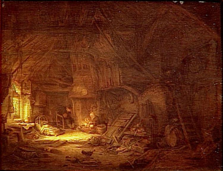 Cottage Interior with a Family around the Hearth, 1642 - Adriaen van Ostade