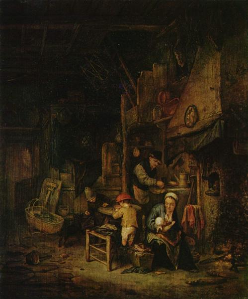 Interior with a Peasant Family, 1647 - Адриан ван Остаде