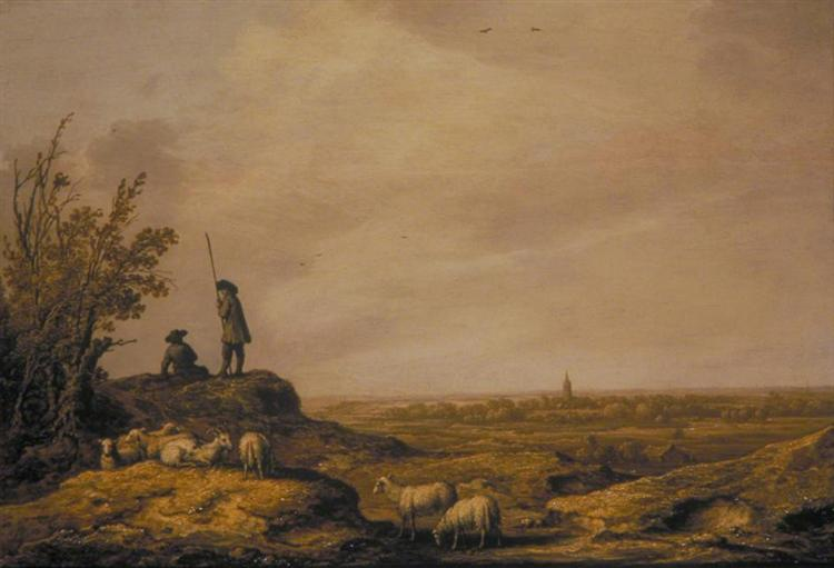 Panoramic Landscape with Shepherds, Sheep and a Town in the Distance, 1644 - Альберт Кёйп
