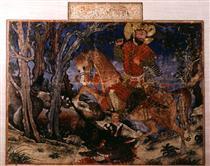 Bahram Gur kills the wolf - Ahmad Musa
