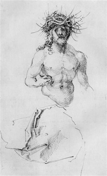 Study sheet with Christ as Man of Sorrows and a garment study, c.1510 - Albrecht Durer