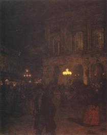 Opera paryska w nocy - Aleksander Gierymski