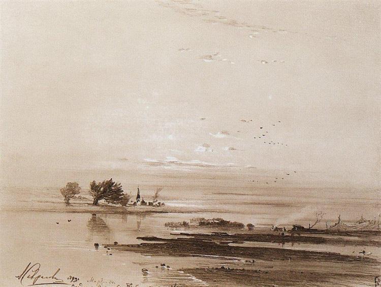 Early spring.Flood, 1893 - Aleksey Savrasov