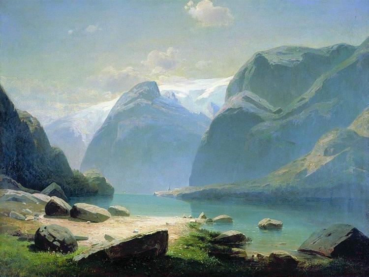 Озеро в горах Швейцарии, 1866 - Алексей Саврасов