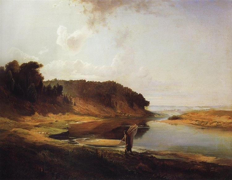 Landscape with a River and an Angler, 1859 - Aleksey Savrasov