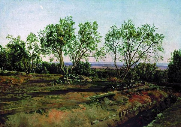 Olive trees by the cemetery in Albano. New Moon., 1824