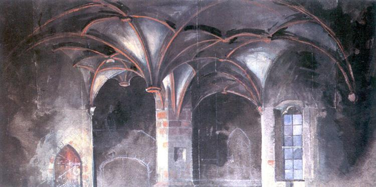 "Crypt of the Borotin Castle. Set Design for Grillparzer's drama ""Die Ahnfrau"", 1908 - Alexandre Benois"