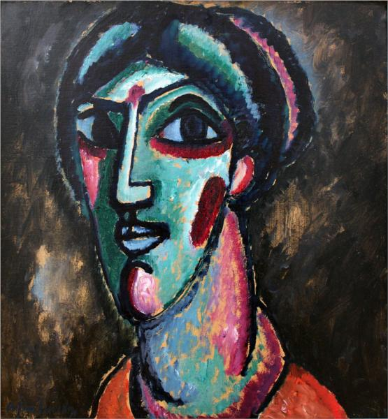 Head in Black and Green - Alexej von Jawlensky