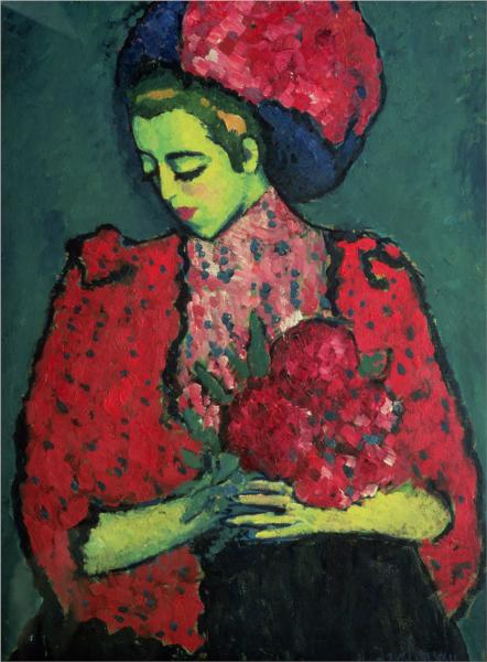Young Girl with Peonies, 1909 - Alexej von Jawlensky