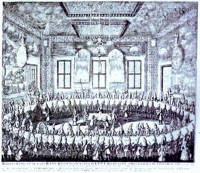 The Wedding Feast of Peter I and Catherine in the Winter Palace of Peter I in St. Petersburg on February 19, 1712, 1712 - Alexey Zubov
