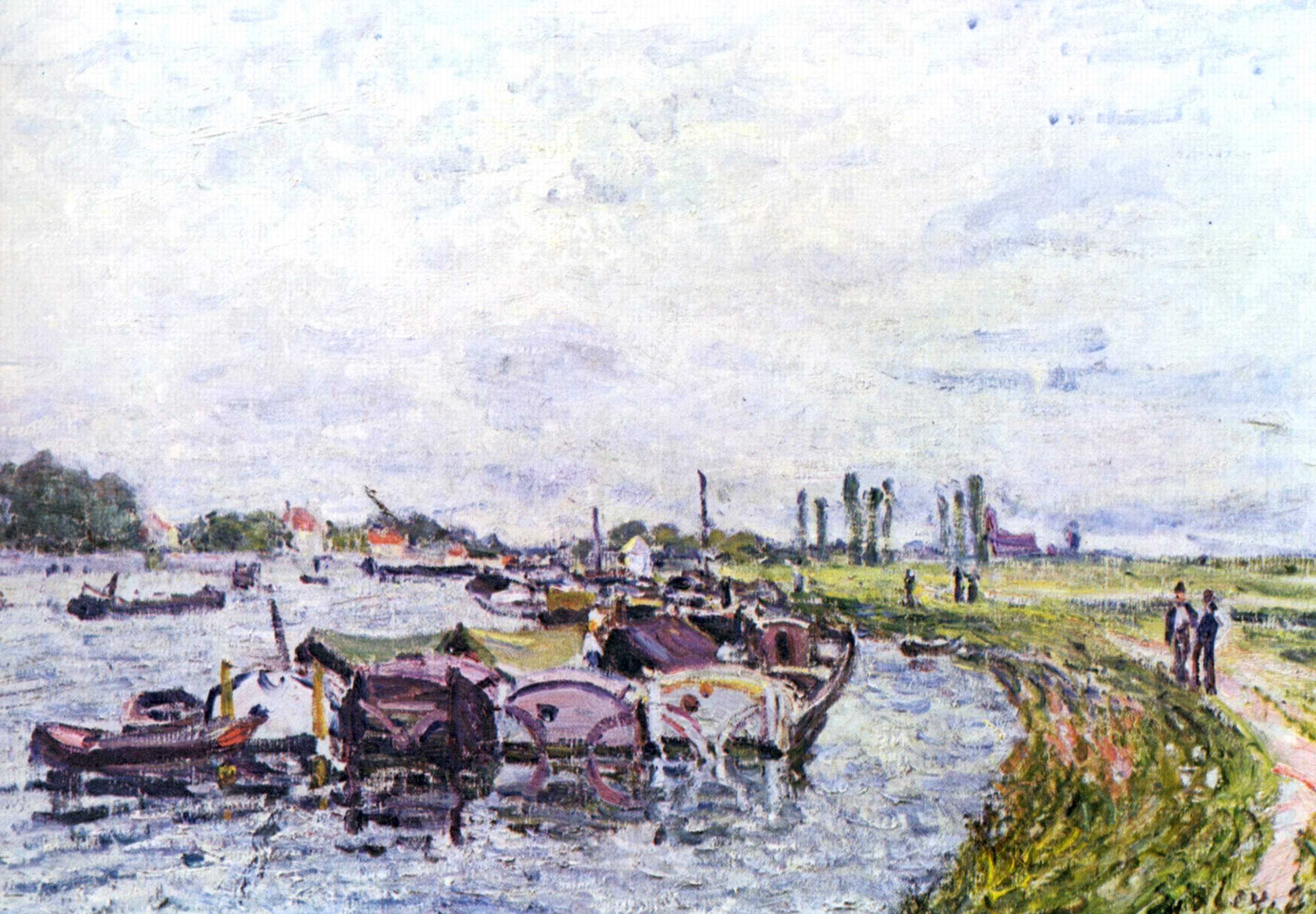 Barges at Saint Mammès - Alfred Sisley