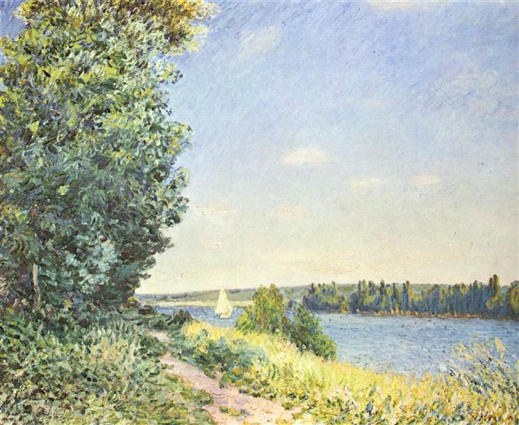Normandy,the waterpath, in the eveningatSahurs, 1894 - Alfred Sisley