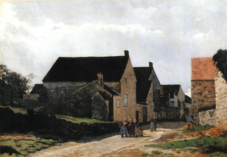 Street of Marlotte (also known as Women Going to the Woods), 1866 - Alfred Sisley