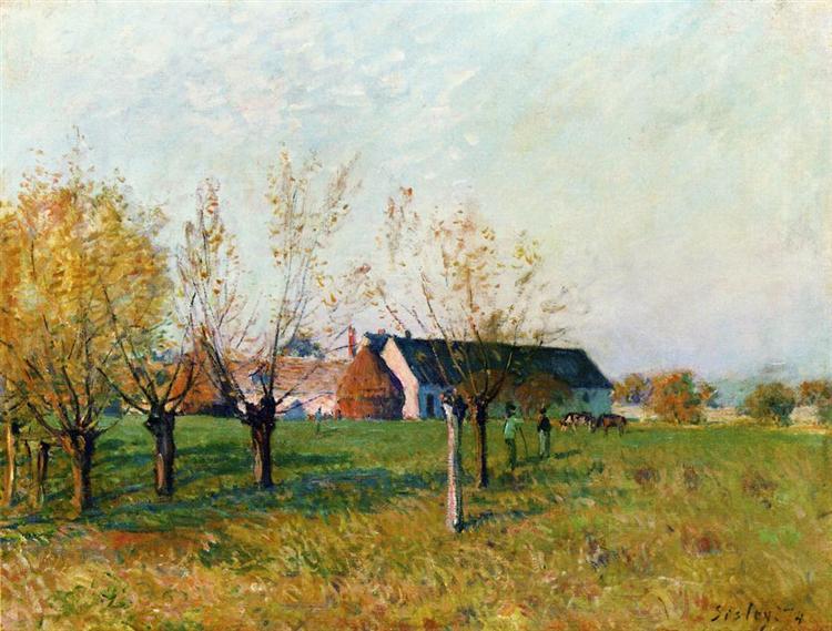 The Farm at Trou d Enfer, Autumn Morning, 1874 - Alfred Sisley