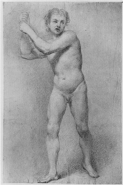 Nude Study of a striding man with stone sling, 1755 - Allan Ramsay