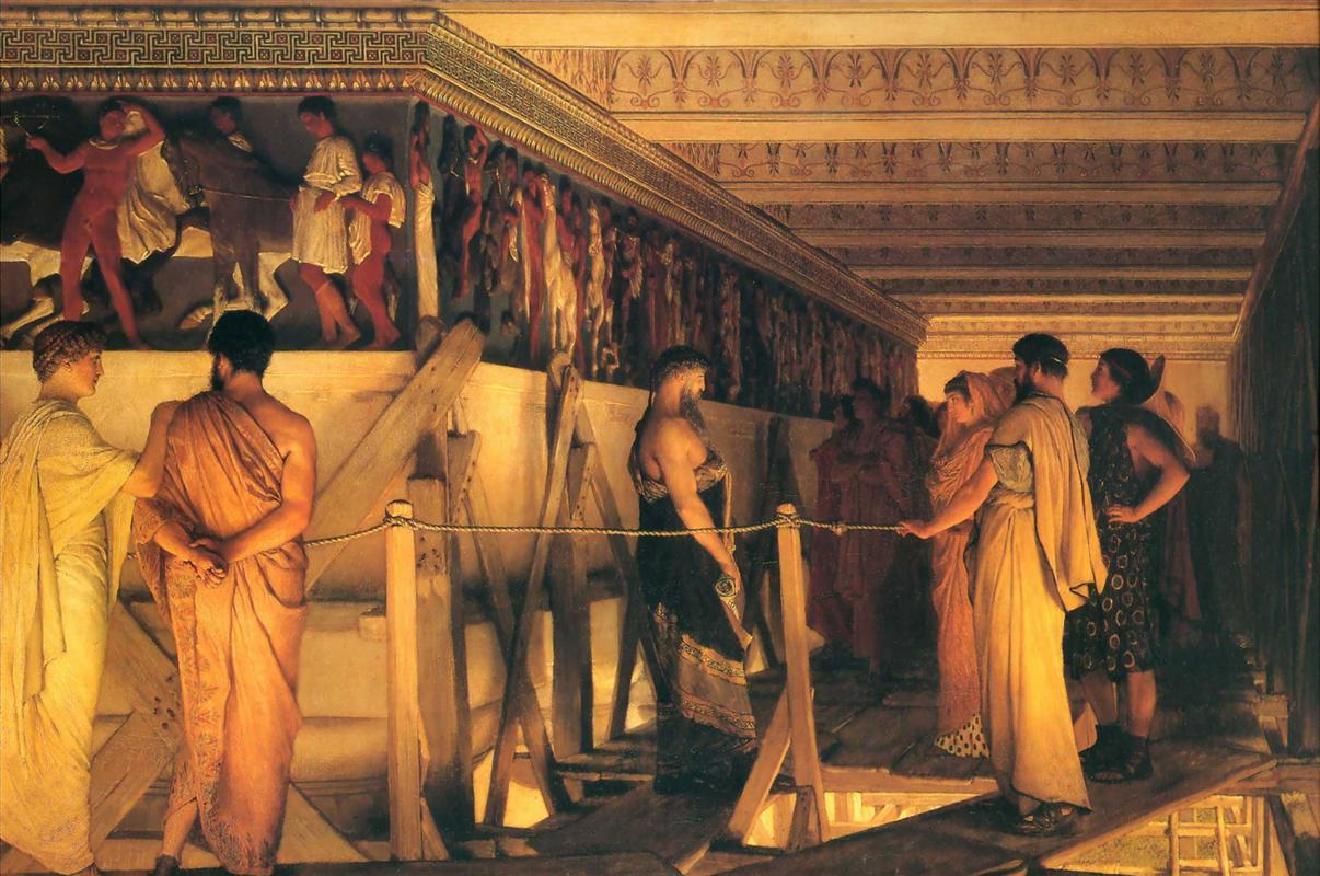 http://uploads2.wikipaintings.org/images/alma-tadema-lawrence/phidias-showing-the-frieze-of-the-parthenon-to-his-friends-1868.jpg!HalfHD.jpg