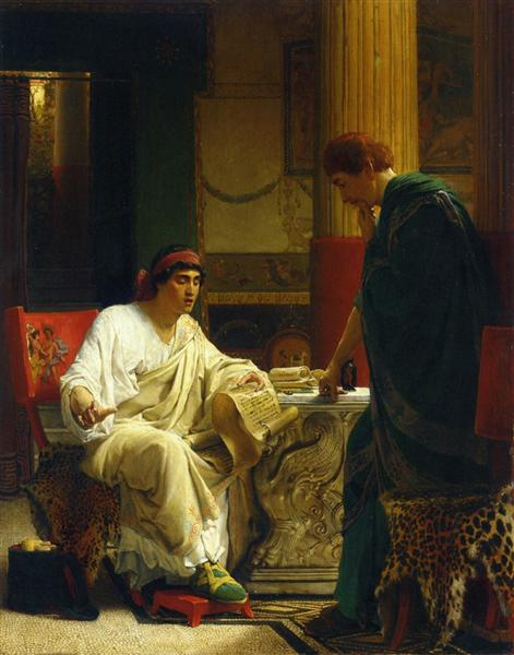 Vespasian Hearing from One of His Generals of the Taking of Jerusalem by Titus (The Dispatch) - Sir Lawrence Alma-Tadema