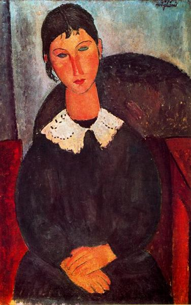 Elvira with a white collar, 1918 - Amedeo Modigliani