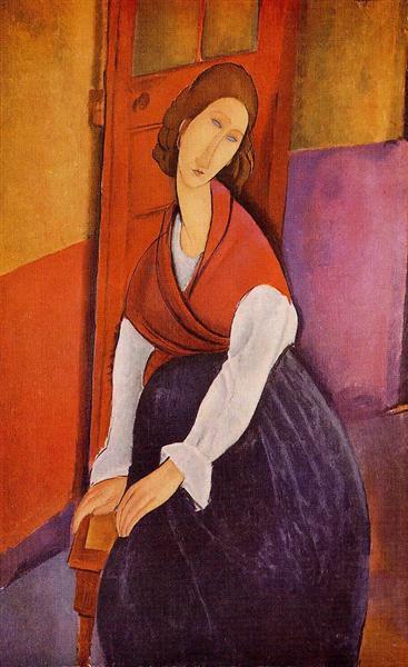 Жанна Эбютерн в красной шали, 1917 - Амедео Модильяни