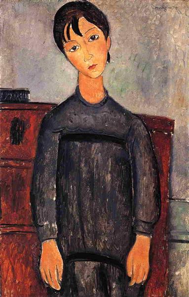 Little Girl in Black Apron, 1918 - Amedeo Modigliani