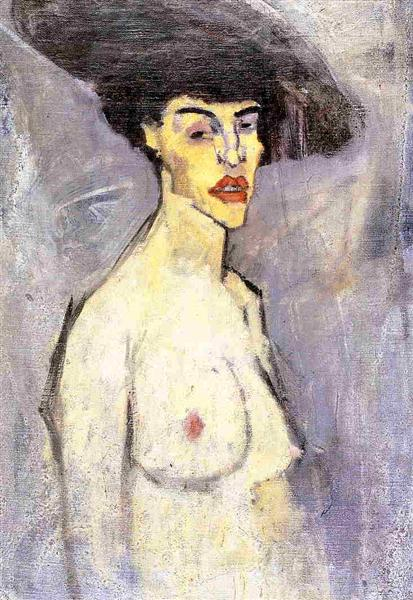 Nude with Hat, c.1907 - Amedeo Modigliani