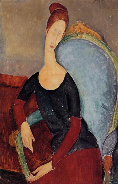 Portrait of Jeanne Hebuterne in a Blue Chair, 1918 - Amedeo Modigliani