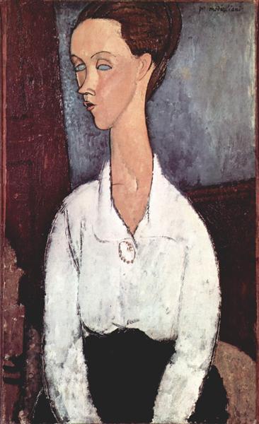 Portrait of Lunia Czechowska in white blouse, 1917 - Amedeo Modigliani