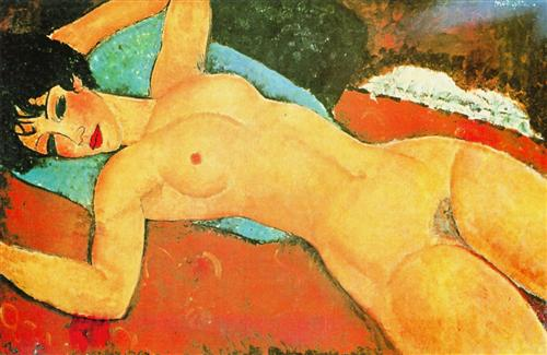 Sleeping Nude with Arms Open (Red Nude) - Amedeo Modigliani