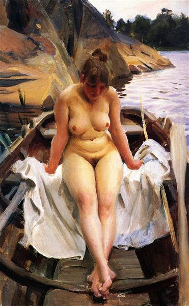 In Werner's Rowing Boat, 1917 - Anders Zorn