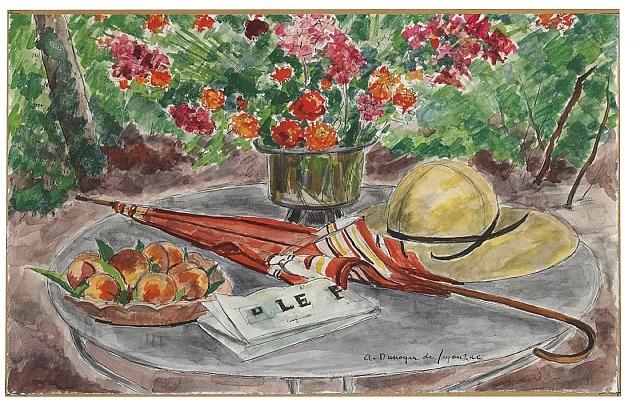 Vase de fleurs, assiette de peches, ombrelle et le Figaro, 1960 - André Dunoyer Segonzac