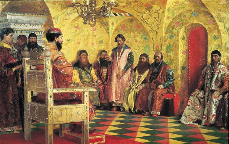 Tzar Mikhail Fedorovich Holding Council with the Boyars in His Royal Chamber, 1883 - Андрей Рябушкин