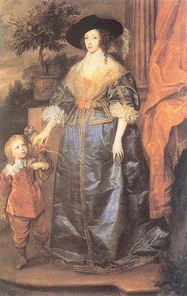 Queen Henrietta Maria and her dwarf Sir Jeffrey Hudson - Anthony van Dyck