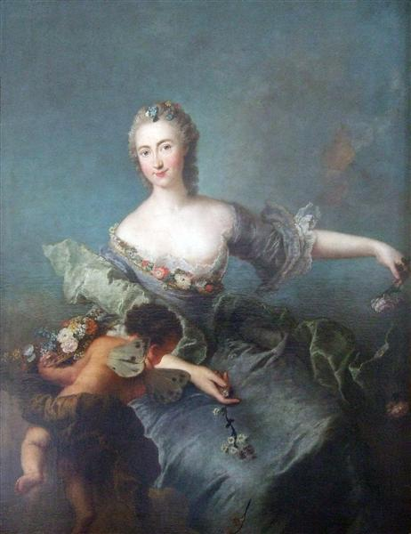 Portrait of Louise Albertine von Grappendorf as Flora, c.1750 - Antoine Pesne