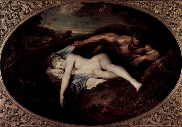 Nymph and Satyr, or Jupiter and Antiope - Watteau Antoine