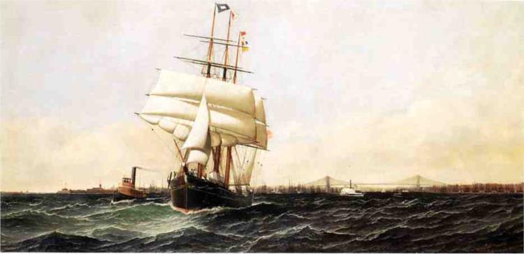 The 'American' Leaving New York Harbor, 1884 - Antonio Jacobsen