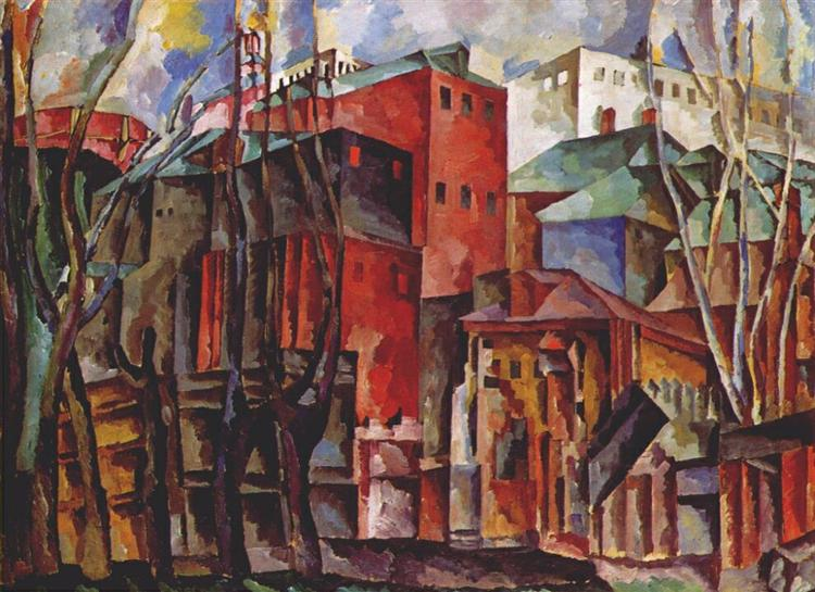 Landscape with dry trees and tall buildings, 1920 - Aristarkh Lentulov