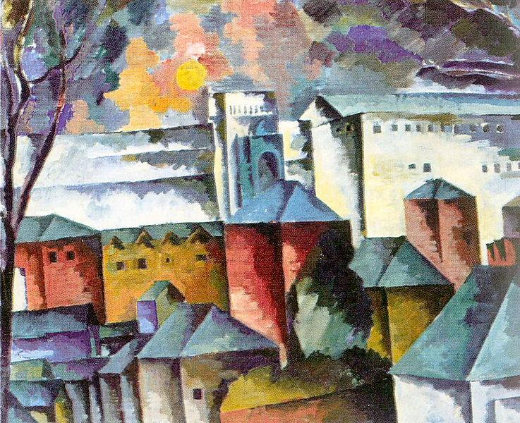 Landscape with the monastery walls, 1920 - Aristarkh Lentulov