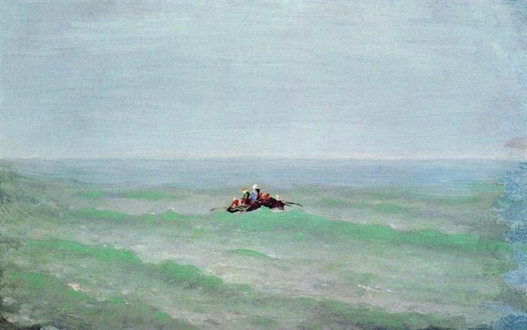 A boat in the sea. Crimea, c.1875 - Arkhip Kuindzhi